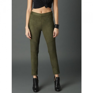 Roadster Women Olive Green Solid Suede Jeggings