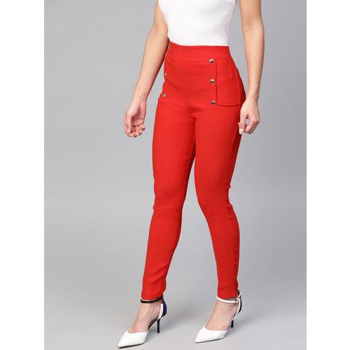 Tulsattva Women Red Solid Slim Fit Treggings