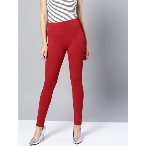Harpa Women Red Solid Treggings