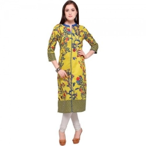 cf0871d1ac Envy 9 Yellow Color Cotton Fabric 3/4th Sleeve Printed Kurti For Women(HKC