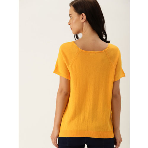 United Colors of Benetton Women Yellow Solid Top