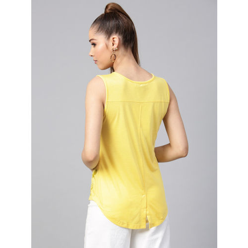 STREET 9 Women Yellow Printed A-Line Top