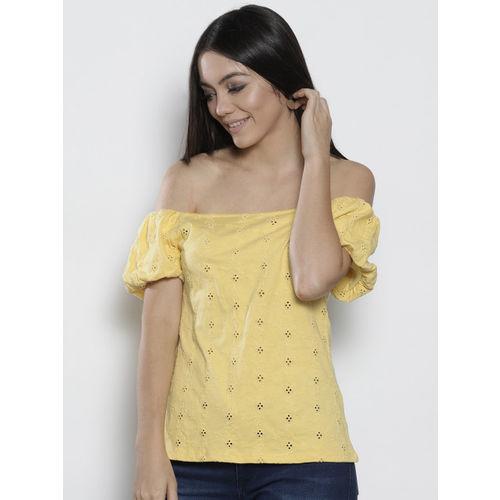 a598a4ca794ae Buy DOROTHY PERKINS Women Yellow Self Design Bardot Top ...