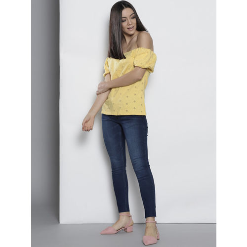 8b1a3814bedff Buy DOROTHY PERKINS Women Yellow Self Design Bardot Top online ...