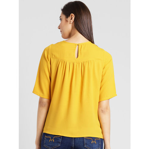 plusS Women Yellow Self Design A-Line Top