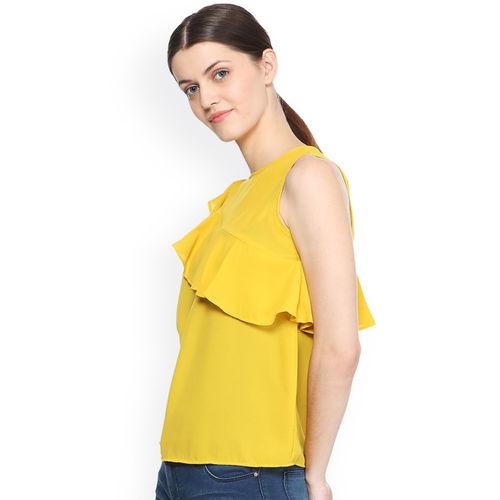 Van Heusen Woman Women Yellow Solid Top
