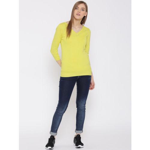 United Colors of Benetton Women Lemon Yellow Solid Top