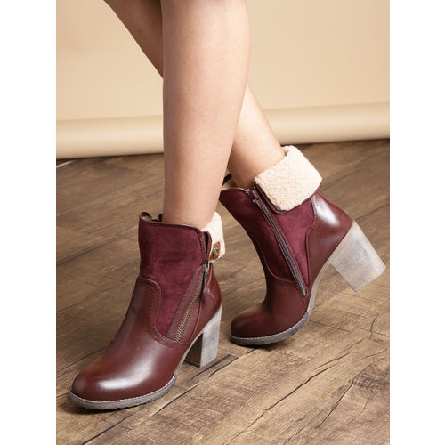 Roadster Women Burgundy Solid Mid-Top Heeled Boots with Faux Fur Detail