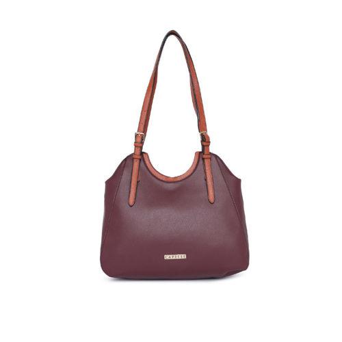 Caprese Maroon Solid Shoulder Bag