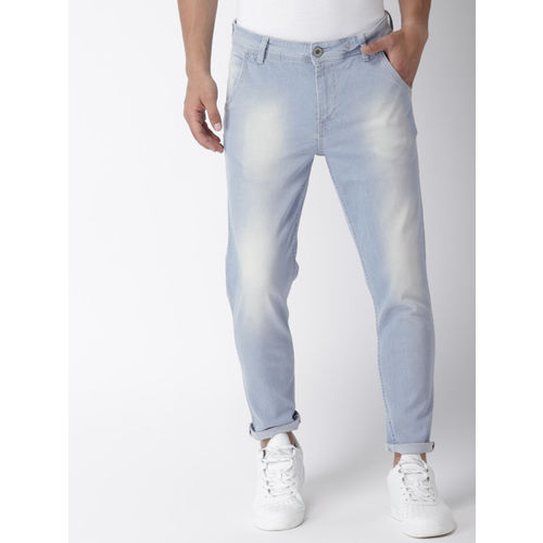 Mast & Harbour Men Blue Carrot Regular Fit Mid-Rise Clean Look Stretchable Jeans