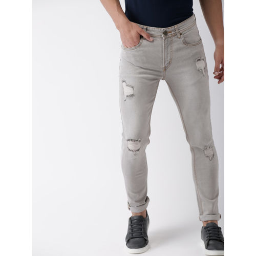 Mast & Harbour Men Grey Skinny Fit Mid-Rise Mildly Distressed Stretchable Jeans