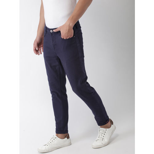 Mast & Harbour Men Navy Blue Carrot Fit Mid-Rise Clean Look Stretchable Jeans