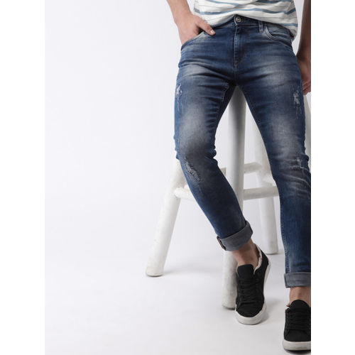 Mast & Harbour Men Blue Skinny Fit Mid-Rise Mildly Distressed Stretchable Jeans