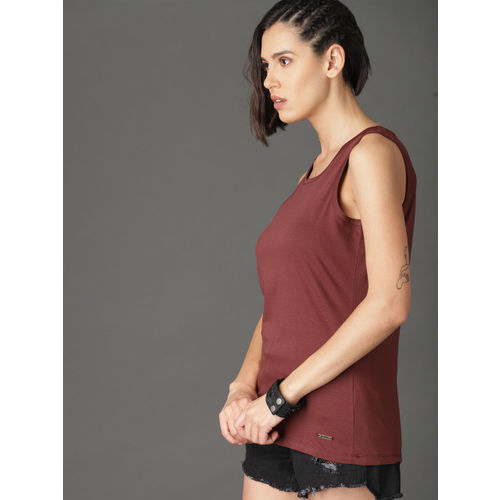 Roadster Women Maroon Striped Layered Top