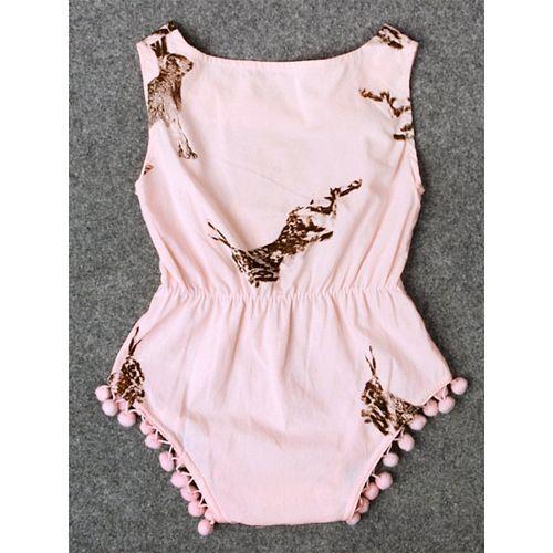Pre Order - Awabox Rabbit Printed Sleeveless Onesie - Pink