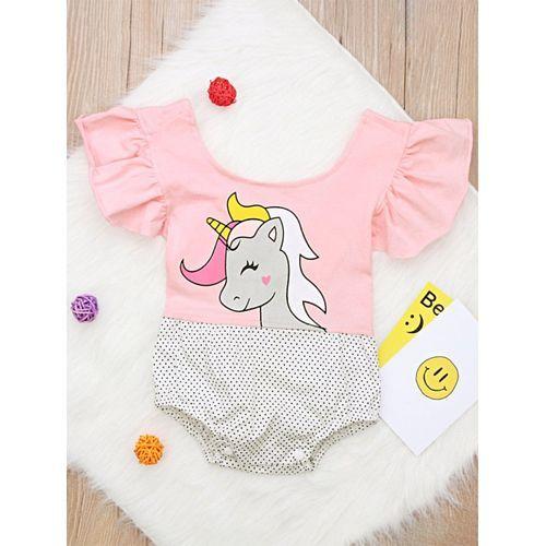 Pre Order - Awabox Unicorn Printed Half Sleeves Onesie - Pink