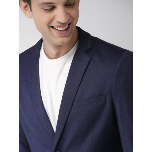 Mast & Harbour Navy Blue Regular Fit Single-Breasted Knitted Blazer