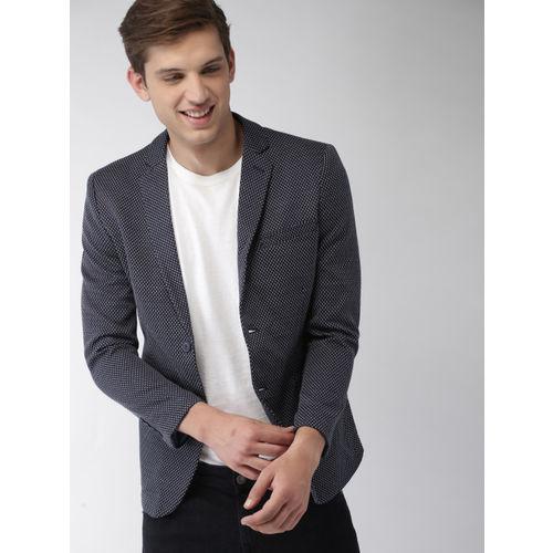 Mast & Harbour Men Navy Blue & White Regular Fit Single-Breasted Knitted Blazer