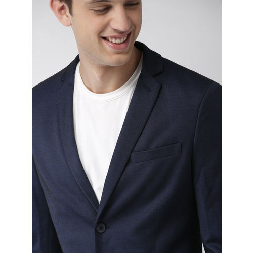 Mast & Harbour Navy Blue Single-Breasted Knitted Blazer