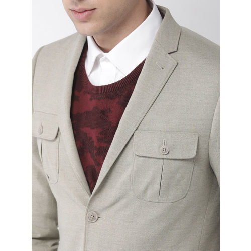 Mast & Harbour Men Beige Solid Regular Fit Single-Breasted Casual Blazer
