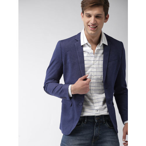 Mast & Harbour Men Blue Solid Single-Breasted Knitted Blazer