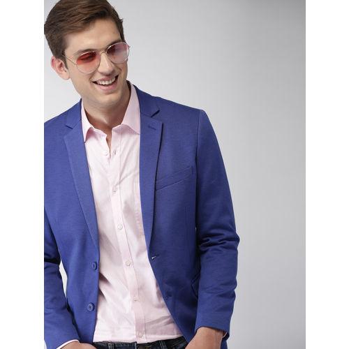 Mast & Harbour Men Blue Regular Fit Single-Breasted Knitted Blazer
