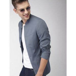 Mast & Harbour Men Blue Solid Single-Breasted Casual Blazer