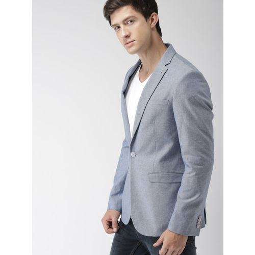 Mast & Harbour Blue Single-Breasted Casual Blazer
