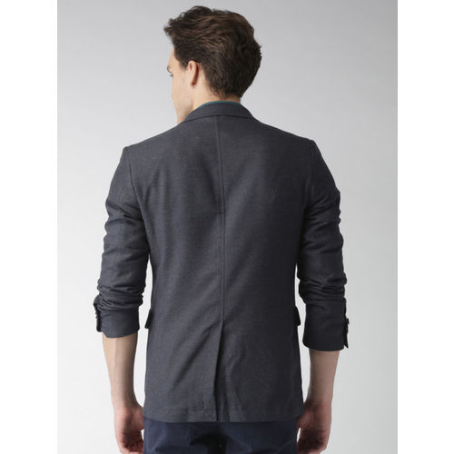 Mast & Harbour Men Navy Regular Fit Single-Breasted Casual Blazer