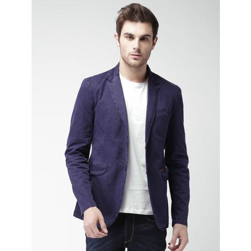 Mast & Harbour Navy Denim Slim Fit Single-Breasted Casual Blazer