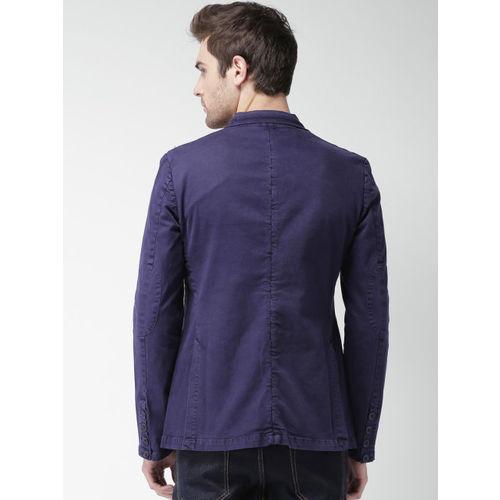 Mast & Harbour Navy Denim Slim Fit Single-Breasted Casual Blazer