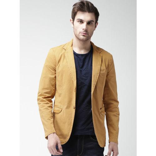 Mast & Harbour Khaki Denim Slim Fit Single-Breasted Casual Blazer