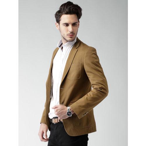Mast & Harbour Khaki Slim Fit Single-Breasted Blazer