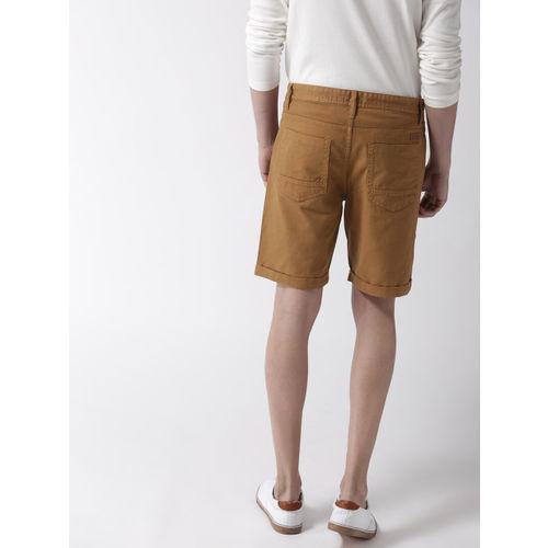 Mast & Harbour Men Brown Solid Slim Fit Denim Shorts