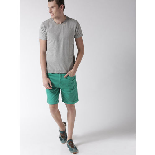 Mast & Harbour Men Green Solid Slim Fit Denim Shorts