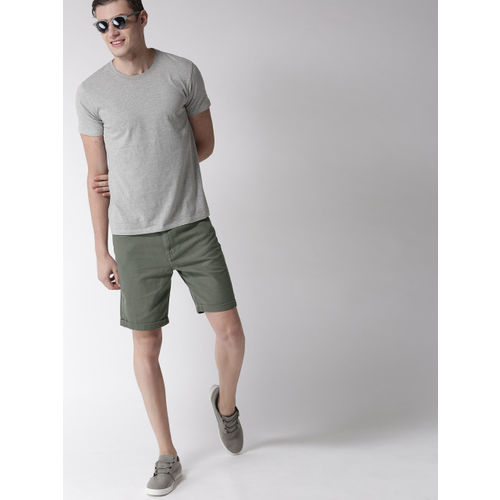 Mast & Harbour Men Olive Green Solid Slim Fit Denim Shorts