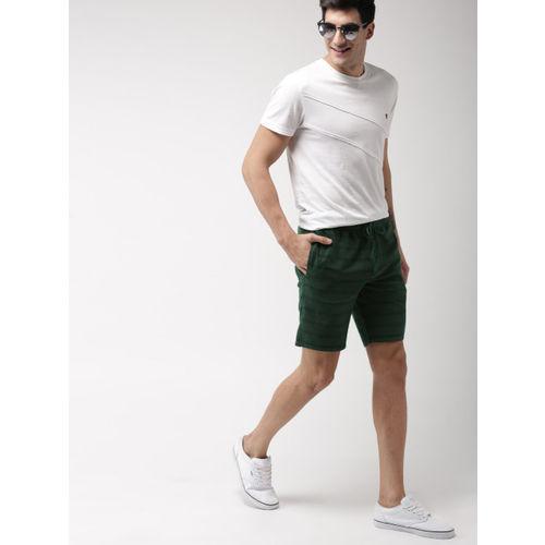Mast & Harbour Men Green Striped Slim Fit Regular Shorts