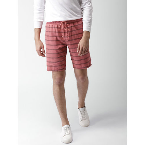 Mast & Harbour Men Rust Red Striped Slim Fit Shorts