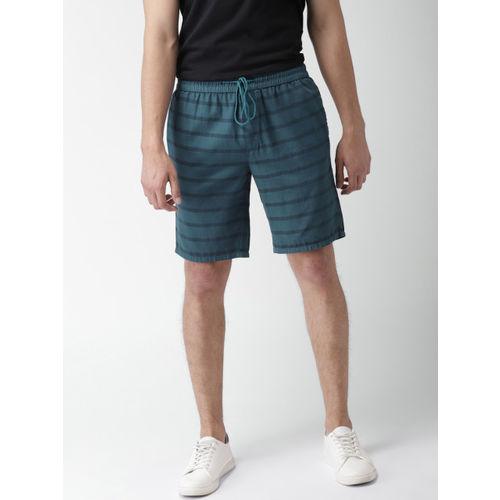 Mast & Harbour Men Blue Striped Slim Fit Shorts