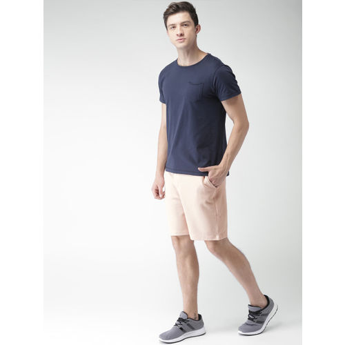 Mast & Harbour Men Peach-Coloured Solid Regular Fit Regular Shorts