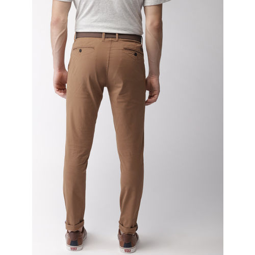 Mast & Harbour Men Rust Brown Regular Fit Solid Chinos