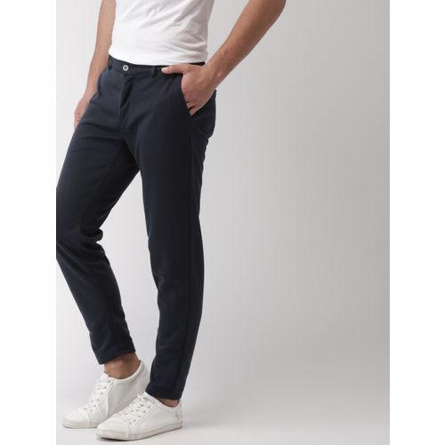 Mast & Harbour Men Navy Blue Slim Fit Solid Regular Trousers