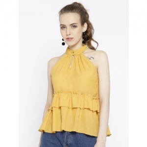 StalkBuyLove Women Mustard Yellow Solid Tiered Top