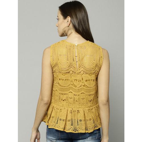 Marks & Spencer Women Mustard Self Design Top