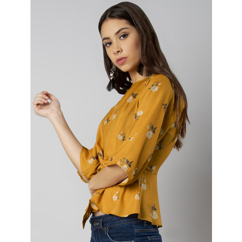 FabAlley Women Mustard Yellow Printed Cinched Waist Top