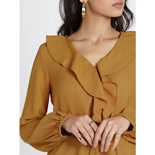 all about you Women Mustard Solid Shirt Style Top