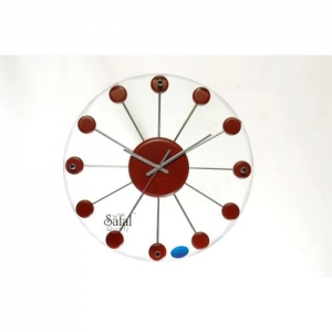 Safal Analog 5 cm X 34 cm Wall Clock(Brown, With Glass)