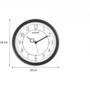 Sonic Analog 19 cm X 19 cm Wall Clock(Black, With Glass)