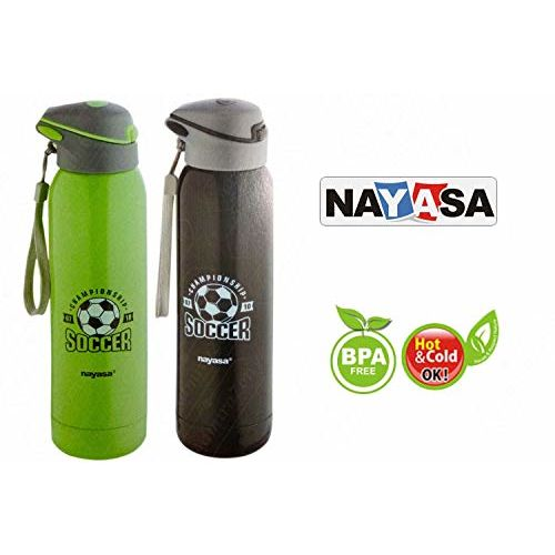 Nayasa Vacuum Insulated Stainless Steel Urban Water Bottle Combo Offer, Set of 2, 500ml Each (Multi) :- Abizon