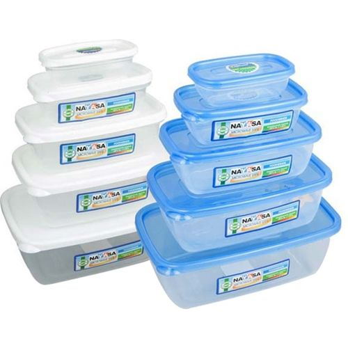 Nayasa Gold Dust Airtight - 1800 ml, 1100 ml, 680 ml, 300 ml, 150 ml Polypropylene Multi-purpose Storage Container (Pack of 10, White, Blue, Clear)